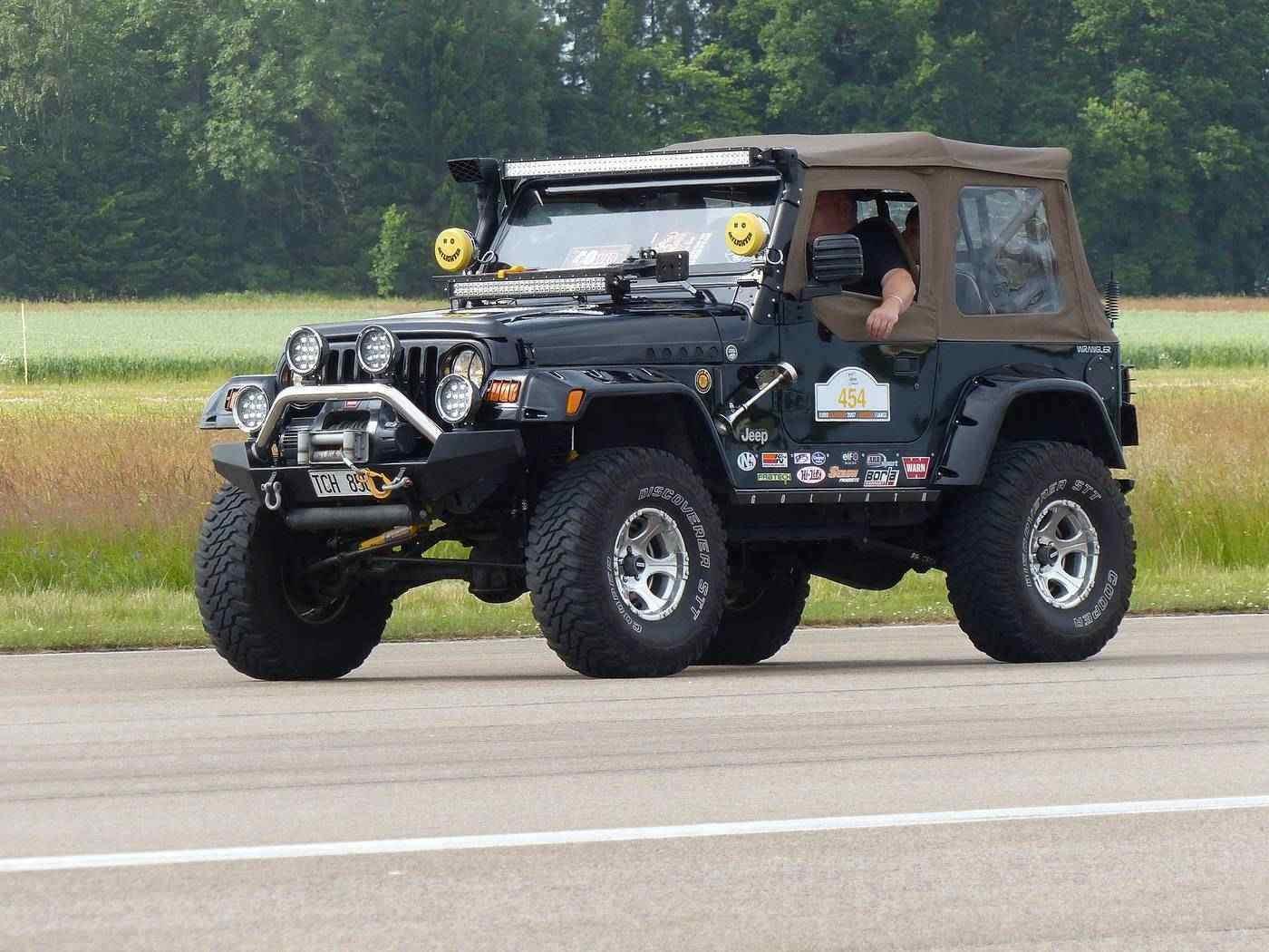Jeep on road
